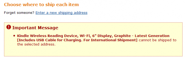 Komunikat: Kindle (...) cannot be shipped to the selected=