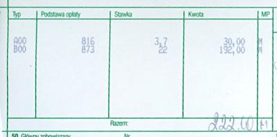 Cło i VAT - dwa wiersze: cło 3,7%, VAT 22%