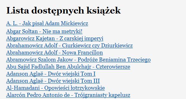 Lista książek zbookini.pl - początek katalogu