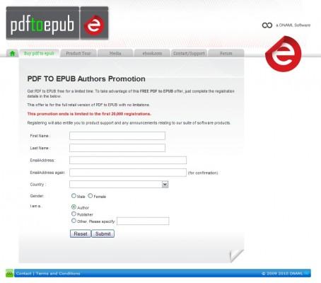 Ekran rejestracji programu PDF to EPUB