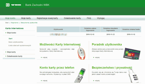 Strona Karty Internetowej po zalogowaniu