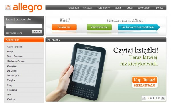Reklama Kindle w Allegro