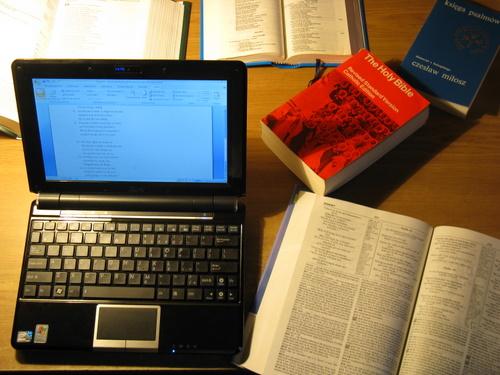 Netbook na biurku, a obok niego sterta książek