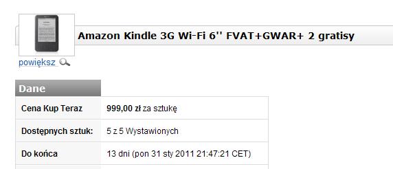 Kindle z Allegro za 999 zł