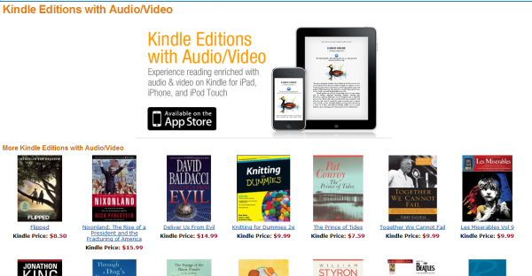 Strona Kindle Editions with audio/video