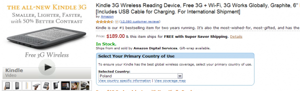 Kindle 3G jest już dostępne - in stock