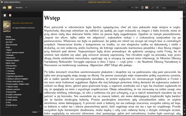 Okno programu Adobe Digital Editions z tekstem książki