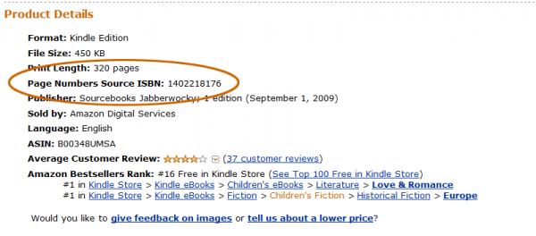 Page Numbers Source ISBN - nowe pole w Amazonie