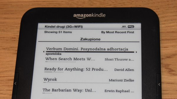 Kindle i lista książek