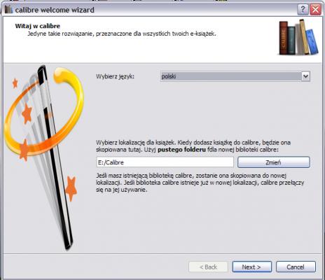 Calibre - wybór języka i lokalizacji plików