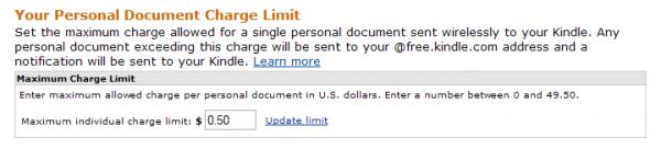 Limit opłat za wysyłkę na adres @kindle.com