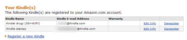 Ustawienia Kindle E-mail Address