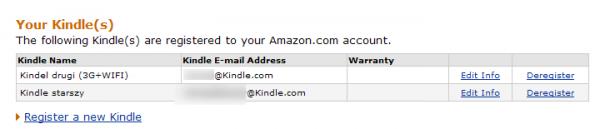 Ustawienia Kindle E-mail Address