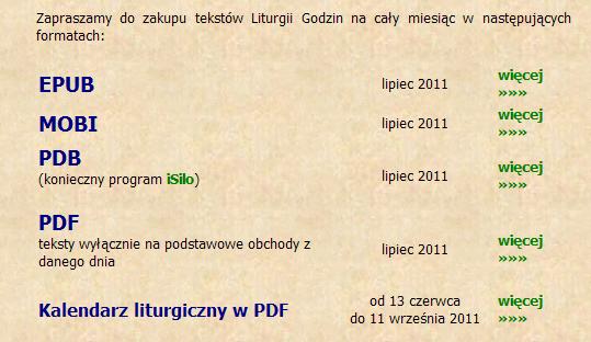 Typy brewiarza do kupienia na brewiarz.pl