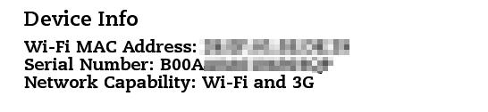 Numer seryjny iinne informacje zMenu - Settings