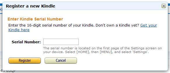 Rejestracja nowego Kindle