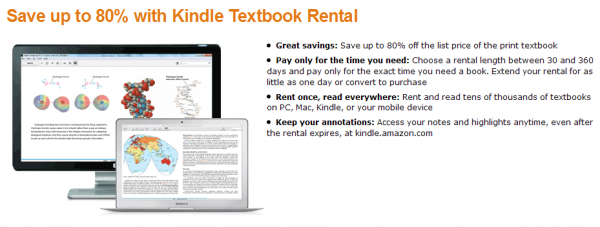 Kindle Textbook Rental - oferta