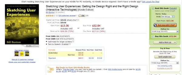 Strona wypożyczenia podręcznika Sketching User Experiences
