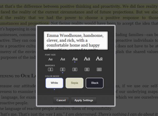 Ustawienia tekstu w Kindle Cloud Reader