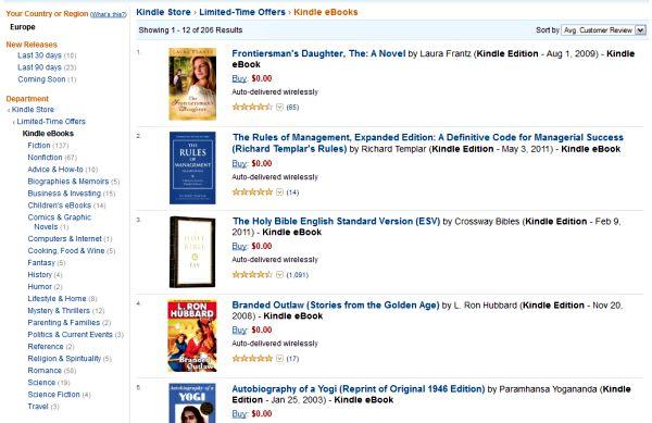 Dział z darmowymi książkami w Kindle Store