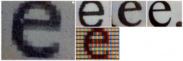 Wygląd litery pod mikroskopem: Kindle, papier zwykły, LCD