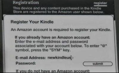 Ekran rejestracji Kindle