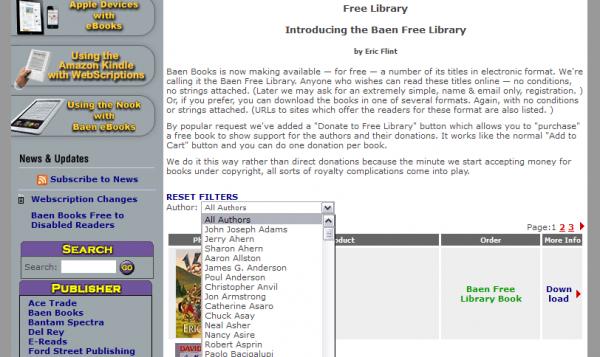 Lista książek wBaen Free Library