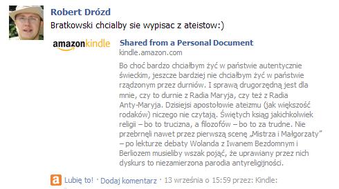 Fragment tekstu zkomentarzem naFacebooku