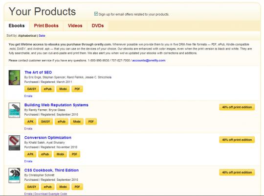 Lista ebooków zformatami dościągnięcia ipromocjami