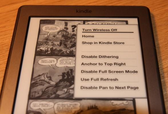 Menu przy przeglądaniu komiksów - zawiera opcje dla obrazków np. wyłączenie ditheringu