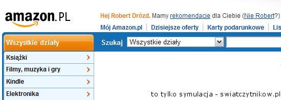 Amazon.pl - symulacja, jak może wyglądać nagłówek strony