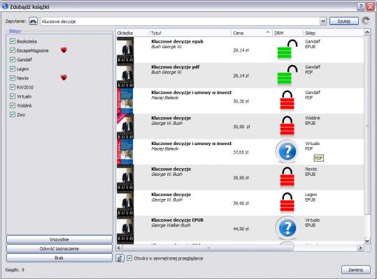 Calibre - wygląd ekranu powpisaniu kluczowe decyzje - jest lista księgarni