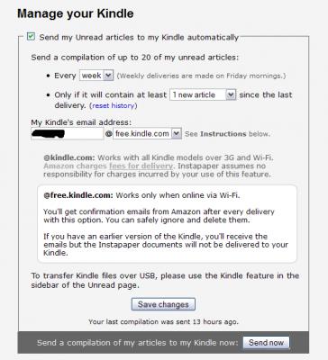 Instapaper - ustawienia Kindle - podajemy email iwybieramy częstotliwość wysyłki