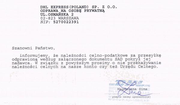 DHL - informujemy że należności celno podatkowe zostały pokryte przez nadawcę