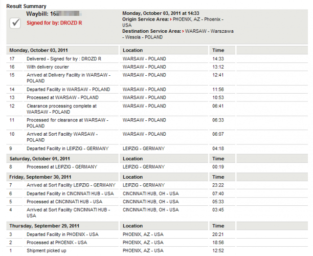 Trasa Kindle 4 - 29.09 USA, 30.09 Niemcy, 3.10 Polska i odebrana