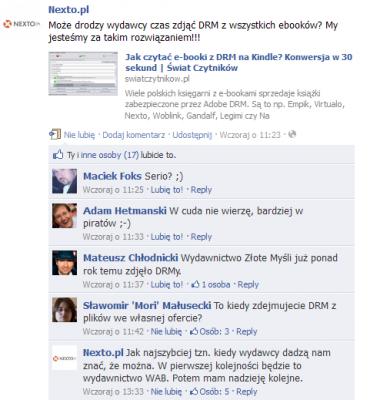 Nexto apeluje do rezygnacji DRM na Facebooku