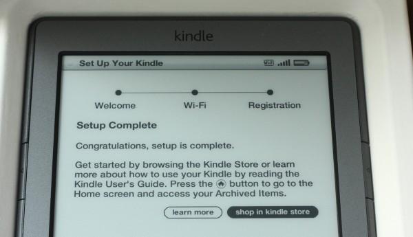 Koniec konfiguracji Kindle - wybór: instrukcja albo Kindle Store