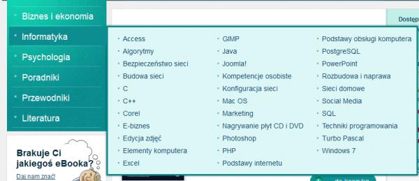 Podkategorie Informatyki w eBookpoint