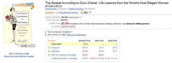 Gospel According toCoco Chanel wKindle Store