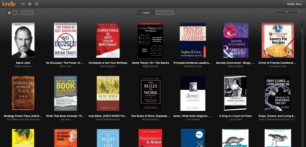 Lista książek w Kindle Cloud Reader