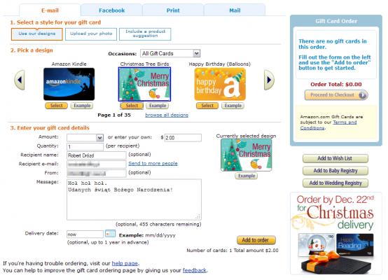 Gift card - wybór projektu itekstu