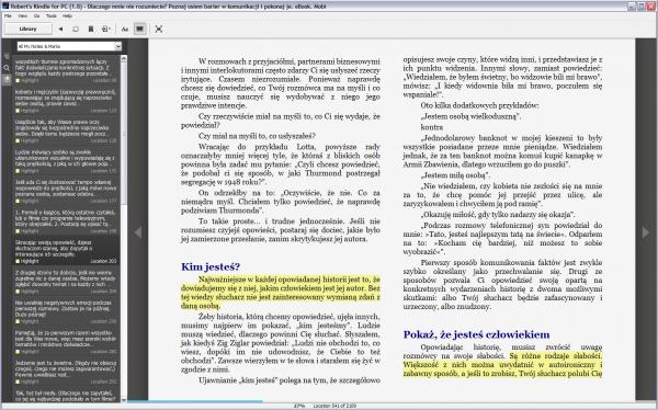 Kindle for PC - podkreślenia w książce