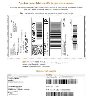 Etykieta zwrotna Amazon