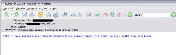 Mail z adresem URL wysyłany do Instapaper