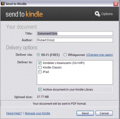 Send to Kindle - dokument DJVU przekonwertuje się do PDF