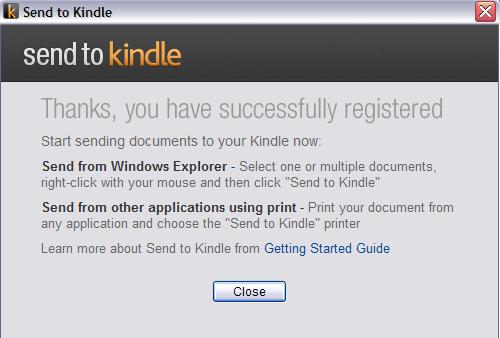 Send To Kindle - informacja po rejestracji