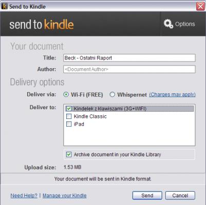 Wysyłka pliku RTF do Kindle