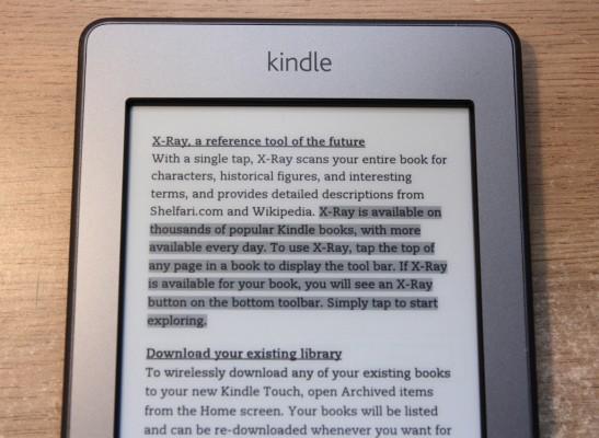 Tekst podkreślony w Kindle Touch