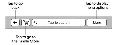Górne menu Kindle Touch - przycisk powrotu, wyszukiwarka, menu