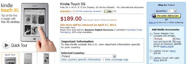 Kindle Touch 3G w wersji międzynarodowej